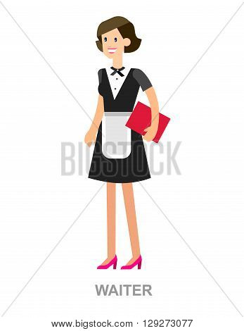 Vector detailed characters Young handsome waiter at restaurant isolated. Waitress image, Waitress isolated. Waiter isolated, Waiter image, Waiter concept, Waitress illustration