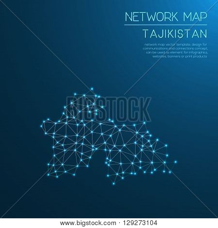 Tajikistan Network Map. Abstract Polygonal Map Design. Internet Connections Vector Illustration.