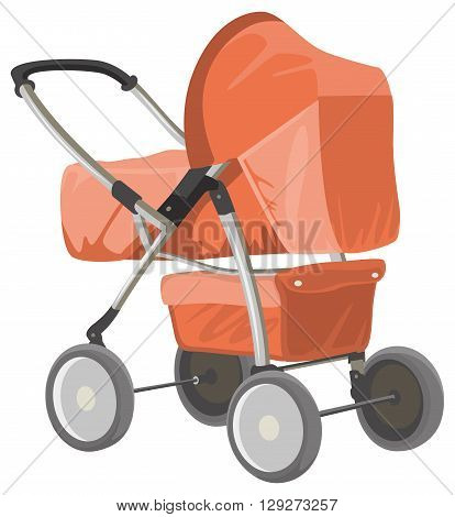 Baby carriage. Orange baby pram. Isolated on white vector illustration