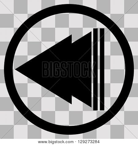 Vector Flat black singl icon play back on transparent background