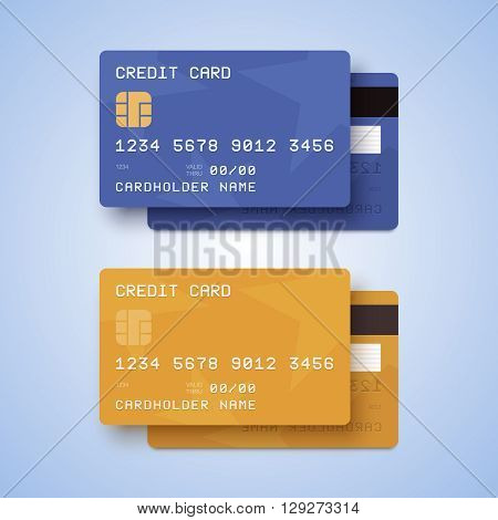 Credit cards illustration with blue and gold credit cards.
