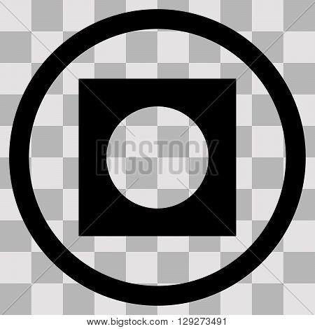 Vector Flat black singl icon record on transparent background