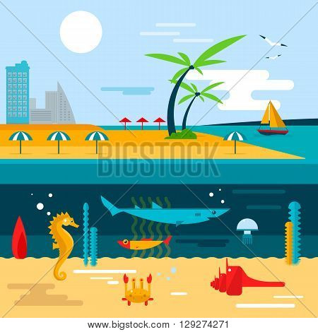 Beach and ocean underwater life. Vector illustration in flat style design. Summer vacation concept.