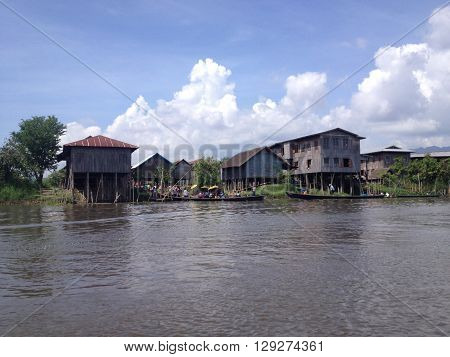 INLE LAKE MYANMAR - MAY 26 : Stilted houses in village on Inle lake Myanmar on May 26 2014