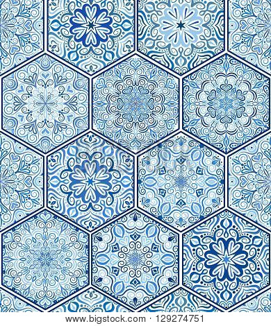 Indigo Blue Tile Ornament from mandalas. Seamless pattern in oriental style. Square tile patchwork design. Intricate tile pattern. Boho chic tile pattern for fabric, furniture, wallpaper.