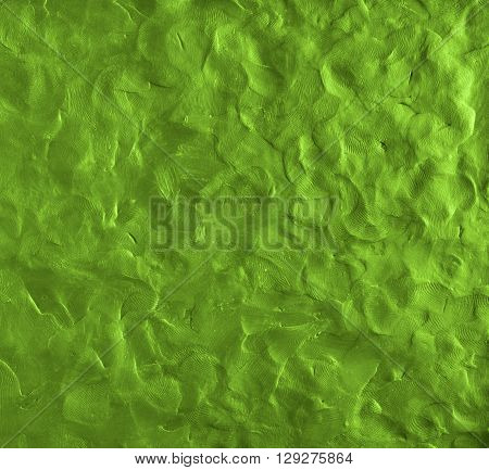 Vector illustration finger textured green color background. Plasticine modeling