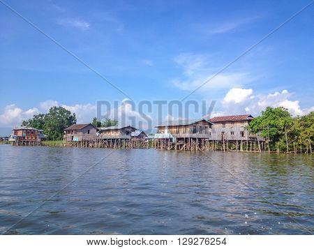 Wooden stilt houses at Inle lake Myanmar