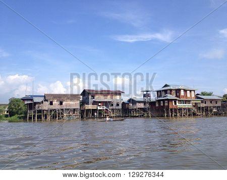 INLE LAKE MYANMAR - MAY 26 : Stilted houses in village on Inle lake Myanmar on May 26 2014