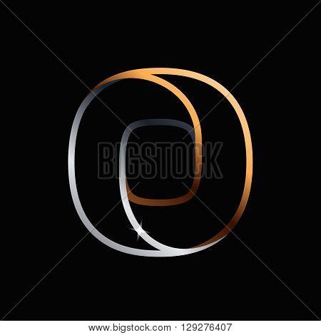 O Letter One Line Golden Logo.