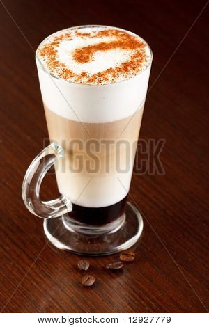 coffee latte with cinnamon