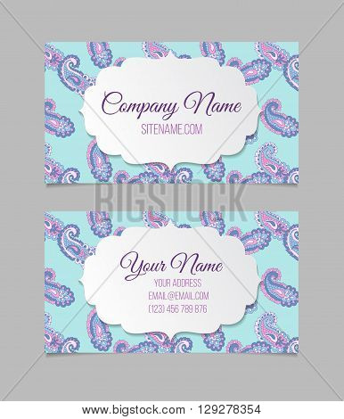 Double-sided  business card template. Asian Paisley vector visiting card