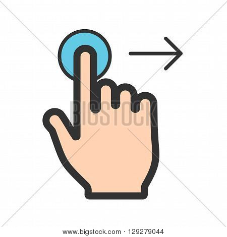 Right, tap, click icon vector image.Can also be used for user touch gestures. Suitable for mobile apps, web apps and print media.