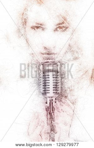 Pencil drawing of a beautiful woman with a microphone. Digitally generated image