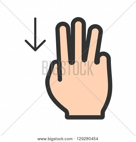 Cursor, fingers, up icon vector image.Can also be used for user touch gestures. Suitable for mobile apps, web apps and print media.