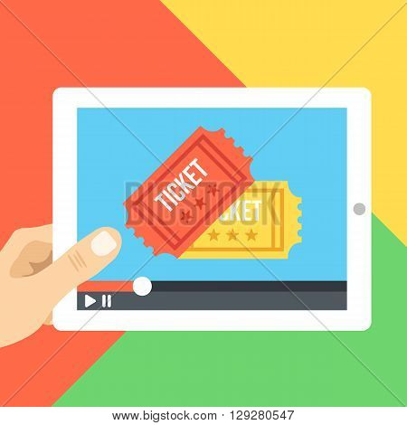 Online cinema on tablet screen. Buy tickets and watch online at home concept. Cinema app. Creative design concepts for web banners, website, printed materials, infographics. Vector illustration