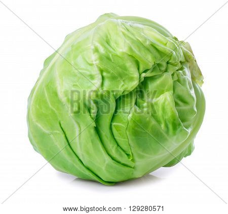 whole fresh green cabbage isolated on white. Vegetable green cabbage. Vegetarian food
