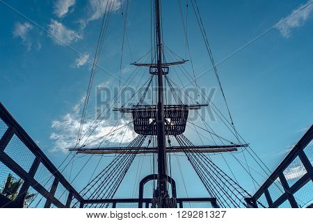 Alicante Spain- February 02 2016: Detail of old spanish ship
