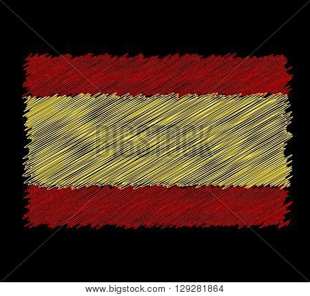 Vector flag of Spain by dirty brush on black