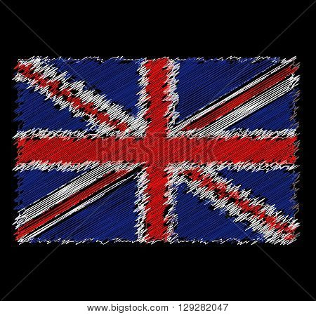 Vector flag of Great Britain by dirty brush on black