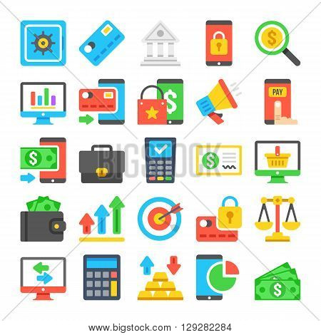 Business icons set. Modern flat icons, material design icons set. Business, banking, finance, marketing. Graphic concepts for web sites, web banners, infographics, printed materials. Vector icons set