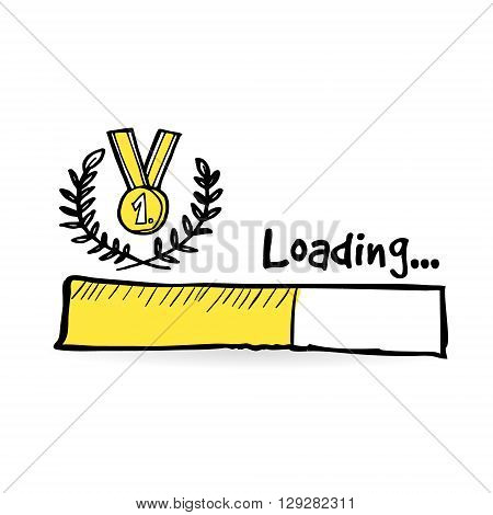 Loading bar with golden medal laurel wreath. Winner competition concept. games championship. Web icon. Doodle vector illustration.