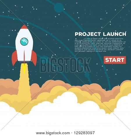 Flat style illustration. Rocket goes up in the sky with stars. Project start up concept.