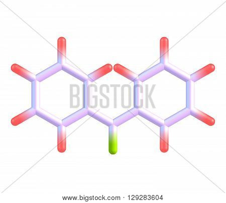 Benzophenone is the organic compound. Benzophenone is a widely used building block in organic chemistry being the parent diarylketone. 3d illustration