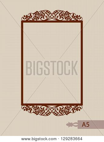 Abstract square photo frame with swirls. Pattern is suitable for greeting cards invitations menus design interiors etc. Template suitable for laser cutting or printing. Vector. Easy to edit