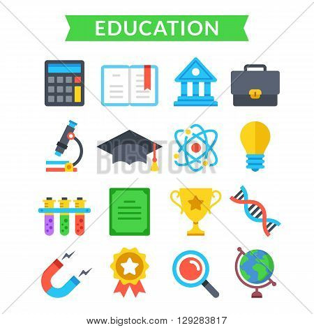 Education icons set. Education, learning, knowledge, school, science, university. Modern flat design, material design icons set for for web sites, web banner, mobile app, infographic. Vector icons set