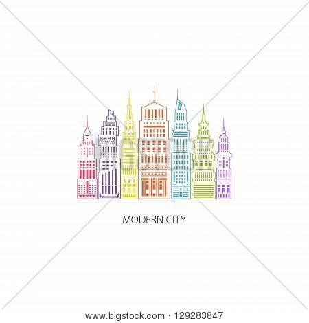 Colorful Modern Big City with Buildings and Skyscraper, Architecture Megapolis, City Financial Center , Architecture Concept, Logo Design Element, Emblem for Real Estate , Linear Style Design, Vector