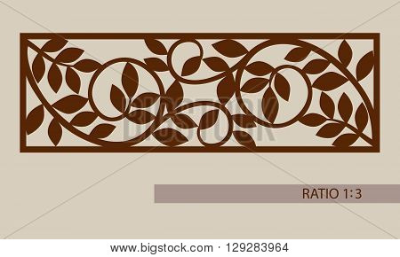 Floral ornament. The template pattern for decorative panel. A picture suitable for printing engraving laser cutting paper wood metal stencil manufacturing. Vector. Easy to edit