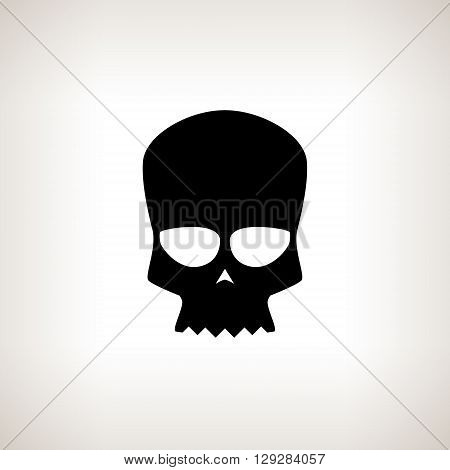 Biker Skull, Silhouette Skull on a Light  Background , Isolated, Black and White Vector Illustration