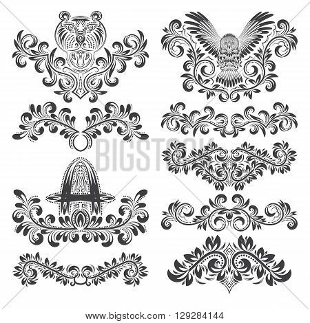 Design ornamental elements set. Floral tattoo in vintage baroque style. Vintage page ornate decorations.