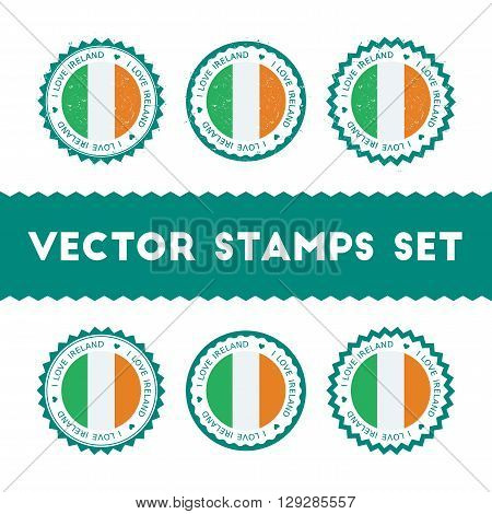 I Love Ireland Vector Stamps Set. Retro Patriotic Country Flag Badges. National Flags Vintage Round