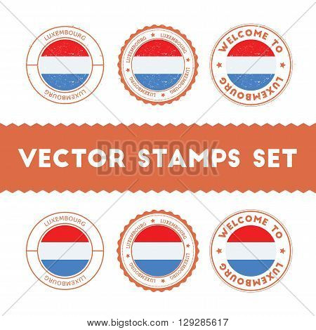 Luxembourger Flag Rubber Stamps Set. National Flags Grunge Stamps. Country Round Badges Collection.