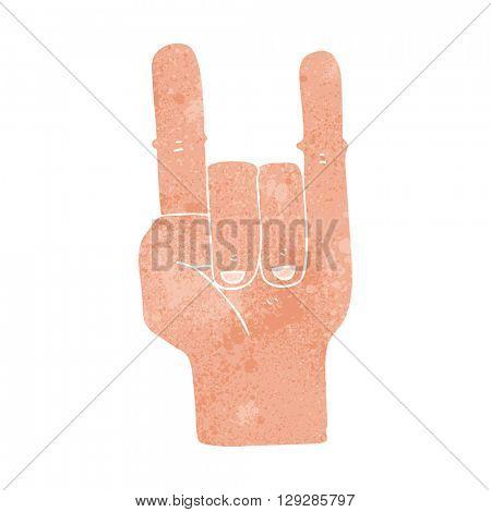 freehand retro cartoon devil horns hand symbol
