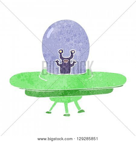 freehand retro cartoon alien spaceship