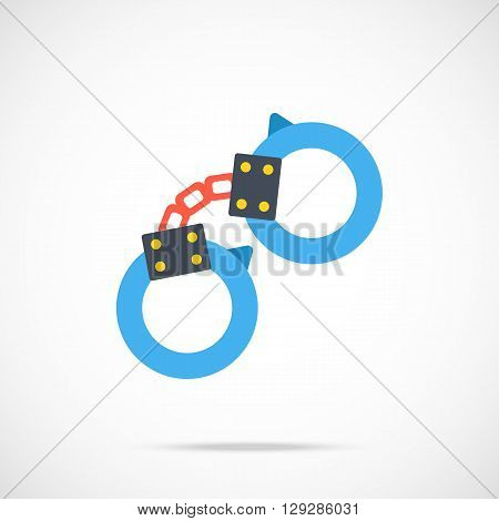Vector handcuffs icon. Modern flat design vector illustration concept for web banners, web and mobile app, web sites, printed materials, infographics. Vector icon isolated on gradient background