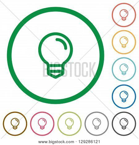 Set of Light bulb color round outlined flat icons on white background