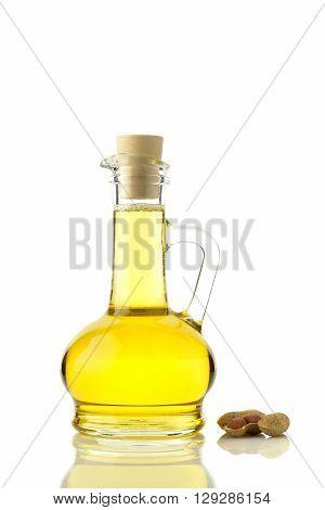 Peanut oil on White Background shot in studio