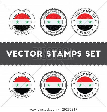 Syrian Flag Rubber Stamps Set. National Flags Grunge Stamps. Country Round Badges Collection.