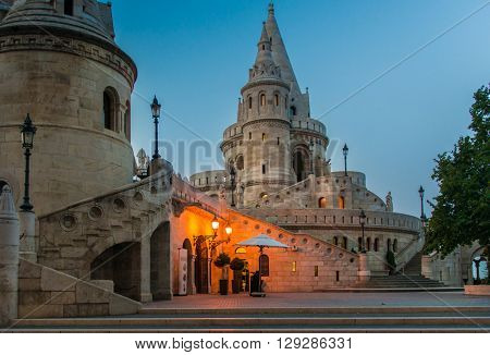 Fishermans Bastion yard in evening, Budapest, Hungary