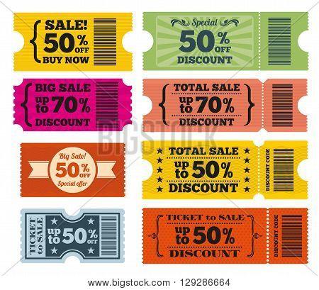 Sale tickets vector set. Tag sale, label sale, coupon sale, discount sale illustration