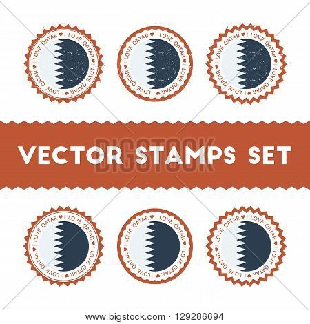 I Love Qatar Vector Stamps Set. Retro Patriotic Country Flag Badges. National Flags Vintage Round Si