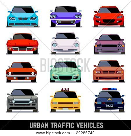 poster of Urban traffic vehicles, car icons in flat style. Model car, police car and vehicle urban car. Vector illustration