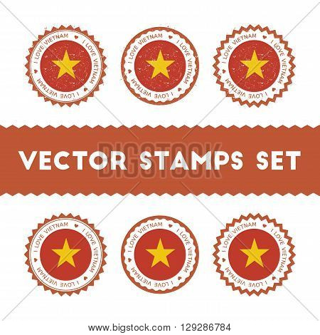 I Love Vietnam Vector Stamps Set. Retro Patriotic Country Flag Badges. National Flags Vintage Round