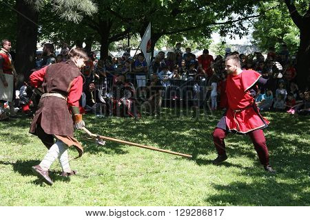 BELGRADE, SERBIA - APRIL 23:Men demonstrate  medieval fighting at Belgrade Knight Fest  April 23,2016 in Belgrade Serbia