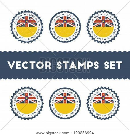 I Love Niue Vector Stamps Set. Retro Patriotic Country Flag Badges. National Flags Vintage Round Sig