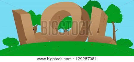Vector illustrated LOL word, letters made of stones.
