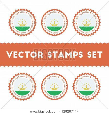 I Love Tajikistan Vector Stamps Set. Retro Patriotic Country Flag Badges. National Flags Vintage Rou
